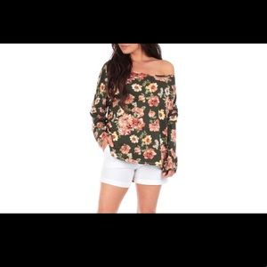Tops - Women's oversized open shoulder tunic